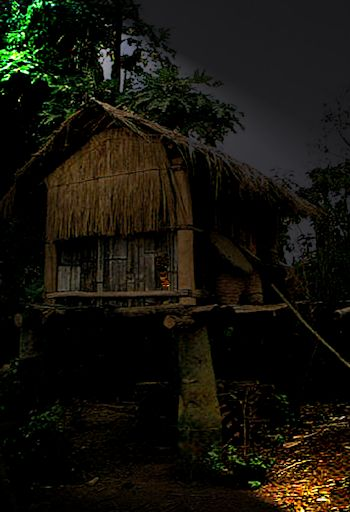 Hut on stilts at night