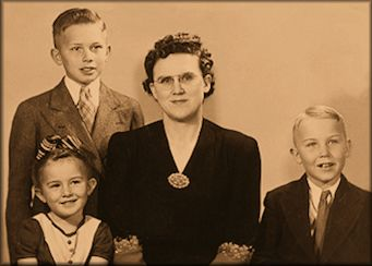 Mrs. Stella Oaks, Dallin, Merrill and Evelyn