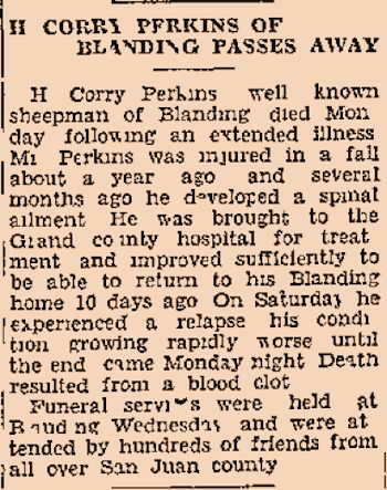 Obituary of H. Corry Perkins