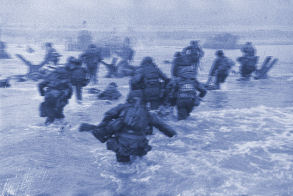 Wading ashore on Normandy Beach on D-Day