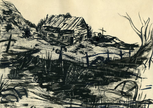 India ink sketch by Ron Taylor, BYH Class of 1957