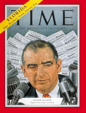 Sen. Joseph McCarthy on Time, Mar 8, 1954