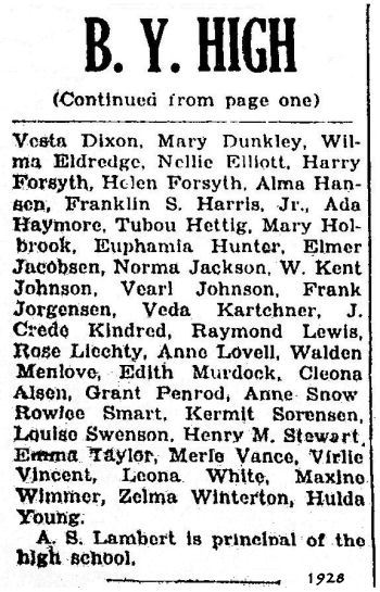 BYH Class of 1928, The Evening Herald, Provo, UT 2