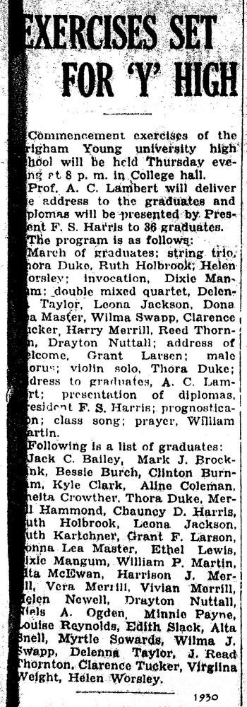 BYH Class of 1930, The Evening Herald, Provo, Utah