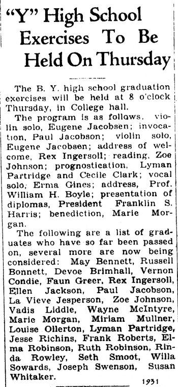 BYH Class of 1931, The Evening Herald, Provo, Utah