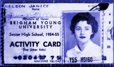 A BYH activity card from 1954-1955.