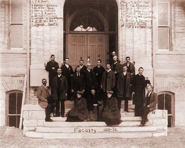 BYA faculty pose in 1891 at new Academy building
