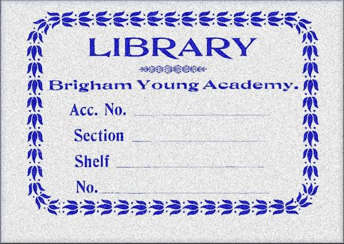 BYA Library Printed Bookplate