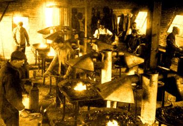 Industrial Arts Building interior with forges 1904