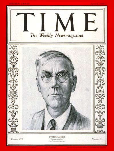 Sen. Reed Smoot, cover of Time Magazine
