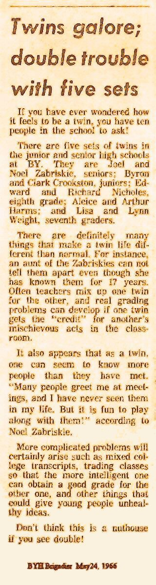 Brighadier Article:5 sets of twins at BYHS