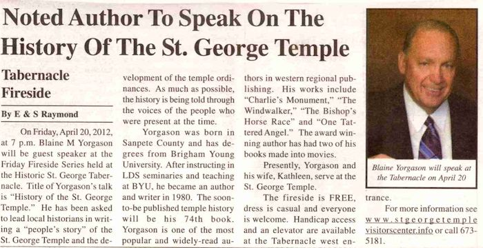 Blaine Yorgason - 2012 News Article