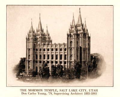 Salt Lake Temple, with D. C. Young notation